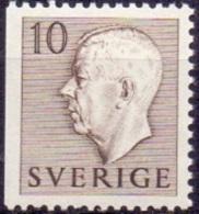 ZWEDEN 1951-1957 10öre Driezijdig Getand Bruin Gustaf VI Adolf Type I PF-MNH