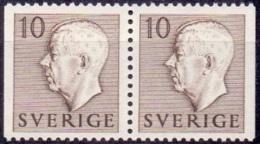 ZWEDEN 1951-1957 10öre Paar Bruin Gustaf VI Adolf Type I PF-MNH