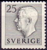 ZWEDEN 1951-1957 25öre Grijs Driezijdig Getand Gustaf VI Adolf Type I PF-MNH