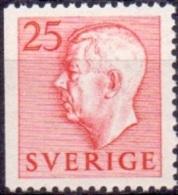 ZWEDEN 1951-1957 25öre Rood Driezijdig Getand Gustaf VI Adolf Type I PF-MNH