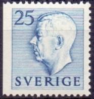 ZWEDEN 1951-1957 25öre Blauw Driezijdig Getand Gustaf VI Adolf Type I PF-MNH