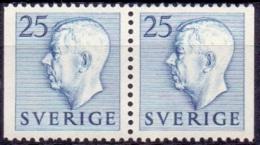 ZWEDEN 1951-1957 25öre Blauw Paar Gustaf VI Adolf Type I PF-MNH