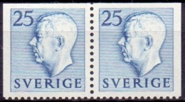 ZWEDEN 1951-1957 25öre Blauw Paar Onder Getand Gustaf VI Adolf Type I PF-MNH