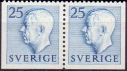 ZWEDEN 1951-1957 25öre Blauw Paar Boven Getand Gustaf VI Adolf Type I PF-MNH