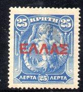 XP2902 - CRETA , 25 Lepta  *  Nuovo : Soprastampa Rossa