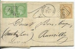 N°20 Paire + Cérès N°59 + GC 1580 / Lettre De Frangy (haute Savoie) Pour Rumilly - 1862 Napoléon III