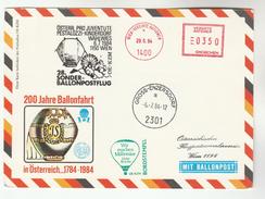 1984 Enzerdorf  BALLOON 200th ANNIV FLIGHT COVER  (card)  Un United Nations Stamps Austria Ballooning - Transport