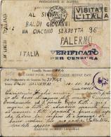 CARTOLINA PRIGIONIERI POW CAMP 304 HELWAN EGITTO 1941 X PALERMO INTERNATO CIVILE - 1900-44 Vittorio Emanuele III