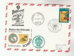 1982 Special UN Vienna FDC Card SWITZERLAND SKIING TEAM World  BALLOON FLIGHT United Nations Stamp Ballooning Ski Sport - FDC