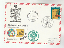 1982 Special UN Vienna FDC Card SWITZERLAND SKIING TEAM World  BALLOON FLIGHT United Nations Cover Ballooning Ski Sport - FDC