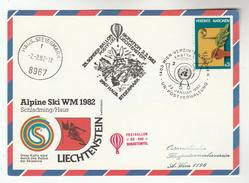 1982 Special UN Vienna FDC Card LIECHTENSTEIN SKIING TEAM World BALLOON FLIGHT United Nations Stamp Ballooning Ski Sport - FDC