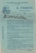 Tarif N° 136 Du 31 Mars 1926 / Huilerie Savonnerie G. Francis / Huile D'olive / 13 Salon De Provence BDR - Otros