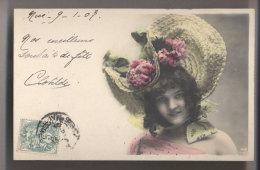 JOLIE FEMME à CHAPEAU - 1907 - Nice Hat Lady - Colorisée - Mode