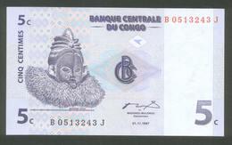 Kongo - Congo 1997, 5 Centimes - UNC - Kongo