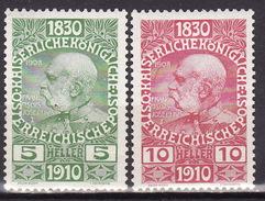 ÖSTERREICH 1910 ANK 164,166 ,MH* VF - 1918-1945 1ère République