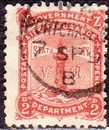 NEW ZEALAND 1891 SG L3 2d Used Life Insurance Perf.12x11½ CV £15 - Officials
