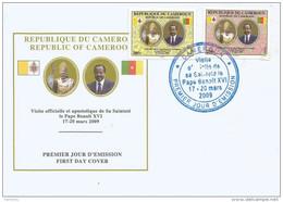 Cameroun Cameroon 2009 Visit Pape Pope Benedict XVI Yv 916/7 Mi 1257/8 FDC Cover - Kameroen (1960-...)