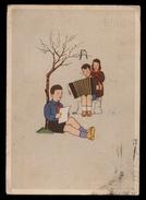 BAMBINI - CHILDREN - ENFANTS - KINDER - BAMBINO CON  FISARMONICA  - VIAGGIATA 1942 CON VISTI DI CENSURA (38) - Disegni Infantili