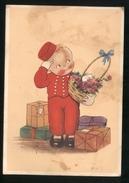 BAMBINI - CHILDREN - ENFANTS - KINDER - BAMBINO PORTIERE D'ALBERGO  - VIAGGIATA 1942 CON VISTI DI CENSURA (39) - Disegni Infantili