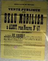 Aalst Affiche - 1896 Vente Publique D'un Beau Mobilier à Alost Rue Neuve Nr. 47 Notaire De Gheest - Affiches