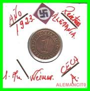 GERMANY, WEIMAR REPUBLIC 1923-1929 RENTENPFENNIG AÑO 1923-A  Bronze - 1 Rentenpfennig & 1 Reichspfennig