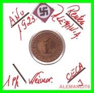 GERMANY, WEIMAR REPUBLIC 1923-1929 RENTENPFENNIG AÑO 1923-J  Bronze - 1 Rentenpfennig & 1 Reichspfennig