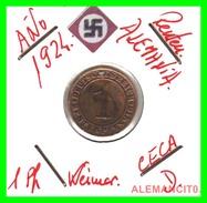 GERMANY, WEIMAR REPUBLIC 1923-1929 RENTENPFENNIG AÑO 1924-D Bronze - 1 Rentenpfennig & 1 Reichspfennig