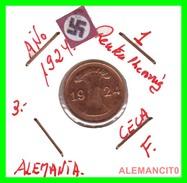 GERMANY, WEIMAR REPUBLIC 1923-1929 RENTENPFENNIG AÑO 1924-F  Bronze - 1 Rentenpfennig & 1 Reichspfennig