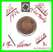 GERMANY, DEUTSCHES.REICH  1924-1936  REICHSPFENNIG  AÑO 1924-A  Bronze - 1 Rentenpfennig & 1 Reichspfennig