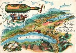 ! Ansichtskarte Les Vins Vandois, Reklamekarte, Werbung, Wein, Wine, Luftschiff, Lausanne, Schweiz - Weinberge