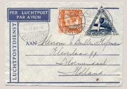 Nederlands Indië - 1934 - 12,5 Cent Wilhelmina Type Kreisler Met LP-zegel Op Uivervlucht Van Batavia Naar Bloemendaal - Nederlands-Indië