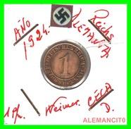 GERMANY, DEUTSCHES.REICH  1924-1936  REICHSPFENNIG  AÑO 1924-D  Bronze - 1 Rentenpfennig & 1 Reichspfennig