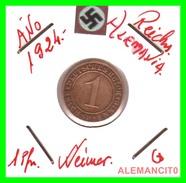GERMANY, DEUTSCHES.REICH  1924-1936  REICHSPFENNIG  AÑO 1924-G  Bronze - 1 Rentenpfennig & 1 Reichspfennig