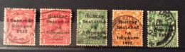 IRLANDA  1922 GOVERNO PROVVISORIO  5 Valori  FRANCOBOLLI GRAN BRETAGNA Sovrastampati - Usati