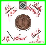 GERMANY, DEUTSCHES.REICH  1924-1936  REICHSPFENNIG  AÑO 1925-E  Bronze - 1 Rentenpfennig & 1 Reichspfennig