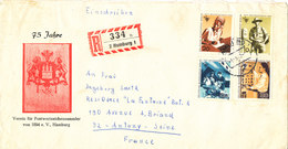 Germany Berlin Registered Cover Sent To France With Complete Set World Congress IPTT Hamburg 1-8-1969 - [5] Berlin
