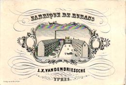 1 Carte De Visite Trade CARD YPRES IEPER Fabrique De Rubans J.X.Vandendriessche IMP Daveley Bruges - Cartes De Visite