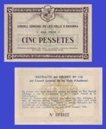 ANDORRA 5   Pessets  1936 1938  Brown Color  - REPRODUCTION - Andorre