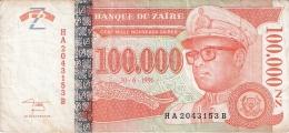 ZAIRE   100,000 Nouveaux Zaires   30/06/1996   Sign.11   G&D   P. 76a - Zaïre