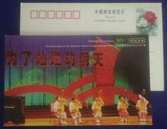 Chinese Traditional Musical Instrument Pipa Performances,CN 01 Xiamen Foreign Language School Advert Pre-stamped Card - Music