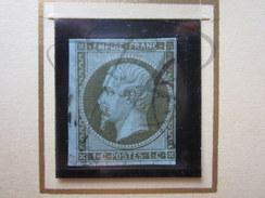 VEND TIMBRE DE FRANCE N° 11 , VERT OLIVE PALE SUR BLEUTE !!!! - 1853-1860 Napoléon III.