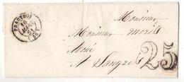 PLI  AVEC CACHET A DATE DE PRAUTHOY 16/03/1851 ET TAMPON TAXE 25  DESTINATAIRE  LANGRES - Prauthoy