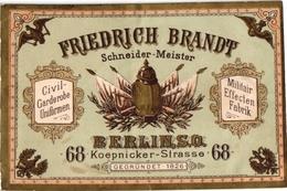 1Carte De Visite Trade CARD BERLIN Friedrich Brandt Schneider-Meister Militair Uniformen DEUTSCHLAND - 1800 – 1899