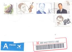 2001. Belgium, The Letter Sent By Registered Post To Moldova - Belgique