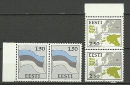 Estland Estonia Estonie 1991 Flag Flagge & Map Landkarte Michel 174 - 175 In Pair MNH - Estonia