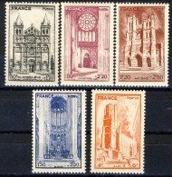 Francia 1944 Serie N. 663-667 Cattedrali MNH GO Catalogo € 5 - Unused Stamps