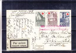 Croix Rouge - Finlande - Carte Postale De 1931 - Oblit Helsinki - Cachet Rouge Mit Luftpost Befordert - Frankfurt Flugha