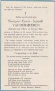 BERTEM-LEUVEN-GEDACHTENISPRENTJE-FRANCOIS VANDERMEEREN-MEES-KINDJE-ONGEVAL+1961-ZIE 2 SCANS-TOP - Images Religieuses