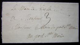 1812 Nicolle Aiguillon Lot Et Garonne, Lettre Du Maire De Nicolle Au Maire De Port Sainte Marie à Propos De Chevaux - Postmark Collection (Covers)