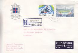 Islande - Lettre Recom Des Années 70 - Oblit Reykjavik - Canards - Glacier - 1944-... Republik